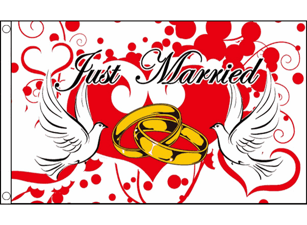 View Just Married Flag 5ft x 3ft